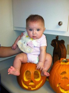 Little ladybug and her first pumpkin