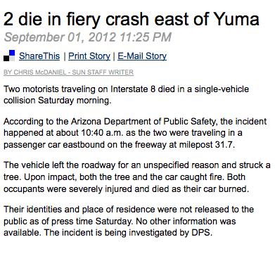Two Die in Firery Crash near Yuma, Arizona